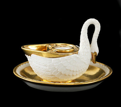 MP Sevres Porcelain Figural Swan Inkwell, circa 1900. Imperial Marks