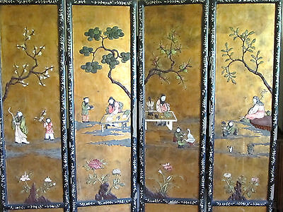 Rare Antique Chinese Coromandel Screen Two-sided Carved MOP Soapstone Signed