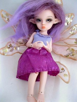 "OOAK Tickle Pink Tiny 5 1/2"" Nabiyette BJD dollhouse fairy elf fur wig doll"