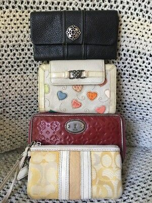 Lot Of Four Vintage Wallets Coach, Fossil , Brighton
