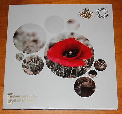 2015 REMEMBRANCE coin set IN FLANDERS FIELDS AND POPPY in collector card holder