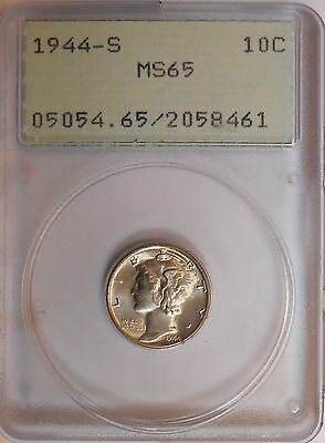 1944-s . Mercury Dime . . PCGS MS65 . . Gem BU . Nearly Full Bands . Rattler OGH