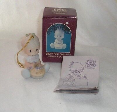 "Precious Moments Baby's First Christmas Ornament Boy Eating Pie 1990 3"" Tall"