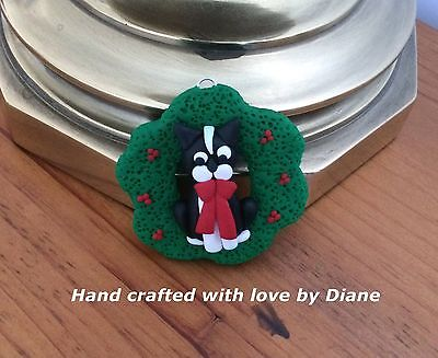 Miniature Hand Crafted Polymer Clay Boston Terrier Christmas Ornament