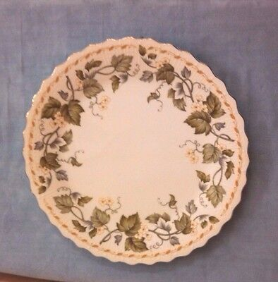 "Andrea By Sadek ""Green Leaf and Blossoms"" Porcelain China Cake Plate #8777 Japan"