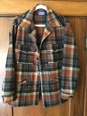 Pendleton Mens Autumn Colors Plaid Wool Flannel Jacket Made In Usa, Large