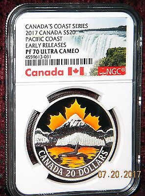 2017 Canada $20 Canada's Coasts Pacific Coast Colored Silver Coin Ngc Pf70 Uc Er