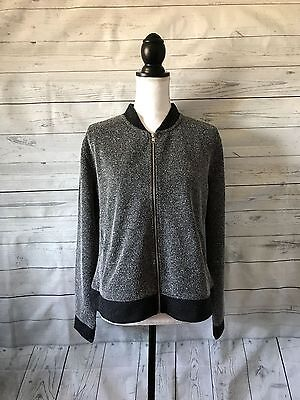 Women's New York & Company Black and White Full Zip Sweater Jacket Size L