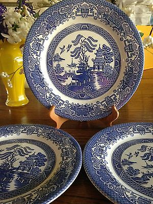 8 Pieces English Ironstone Blue Willow Dishes 3 Dinner Plates 2 Bread 3 Saucers