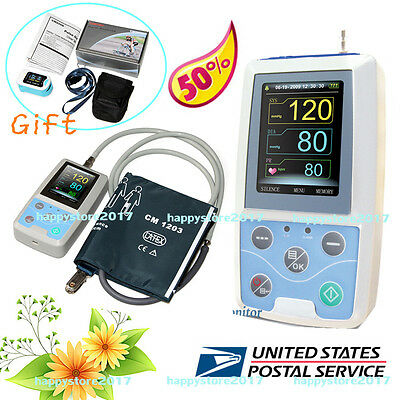 FDA Ambulatory Blood Pressure Patient Monitor 24h NIBP Holter ABPM50+Oximeter