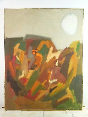 VINTAGE ABSTRACT EXPRESSIONIST OIL PAINTING Classic Mid Century Modern 1958