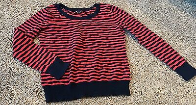 GAP sz M women's Red And Navy Striped Lightweight  Sweater Long-sleeves