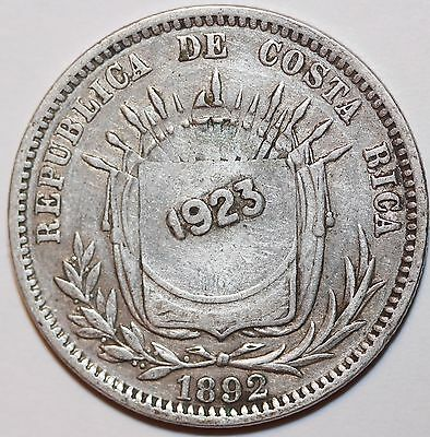 1892 Silver 50 Centimos COSTA RICA Counterstamped 1923!   #CS7765
