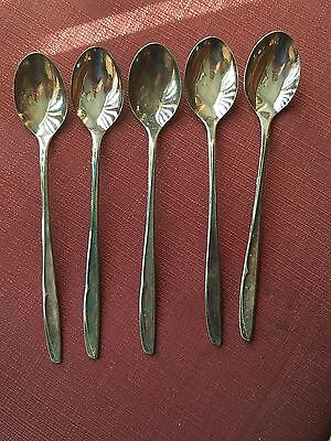 "Vintage Set of 5 pcs Supreme Silverplate Ice Tea Spoons ""Concept"" Pattern 1957"