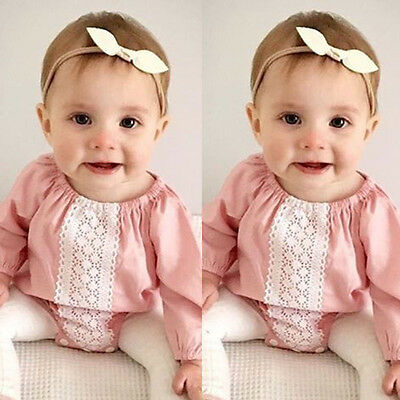 UK Sweet Newborn Baby Girls Romper Bodysuit Jumpsuit Clothes Cotton Pink Outfits