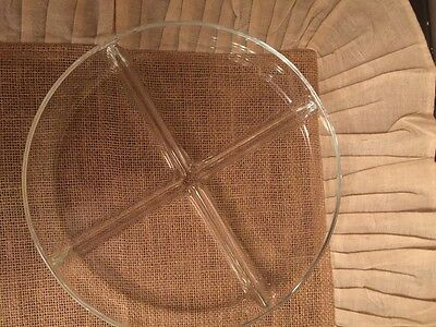 """vintage  glass divided plate 9 1/2"""" 4 sections clear"""