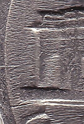USA 1988P Five Cent Coin - die cracks both sides of monument