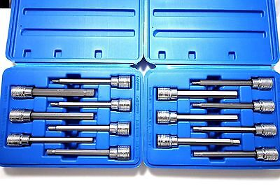 14 Pc Mm Metric & Sae Long Allen Hex Wrench Bit Key Socket Tool Set