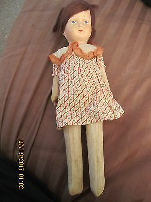 Vintage Papier Mache Cloth Doll Cloth Straw Stuffed Body in Lovely Old Dress