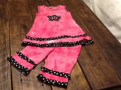 Ann Loren Girl's Fashion Boutique Brand Tunic Top And Shorts, Size 7/8, Pink