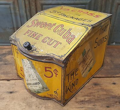 Antique Old Country Store Counter Display Sweet Cuba TobaccoTin Box Advertising