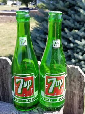 Pair Fresh Up with 7 Up Green Glass 7oz Painted Bottles Madison Wis & Seattle Wa