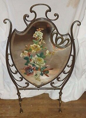 Antique Victorian Fireplace Screen,hand Painted Roses ,mirrored Fireplace Screen