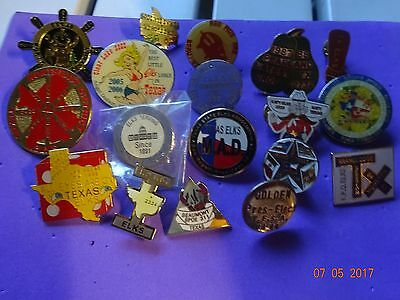 BPOE ELKS 18  Different Texas Elks Lodge and State Pins