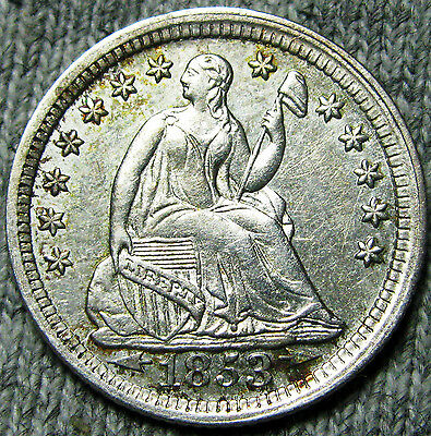 1853 Seated Liberty Half Dime -- STUNNING DETAILS -- #N249