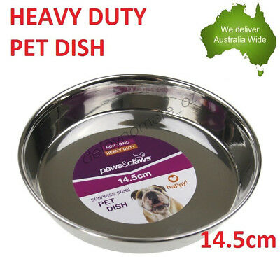 Heavy Duty Pet Metal Stainless Steel Dish Food Water bowl Plate dog cat NEW