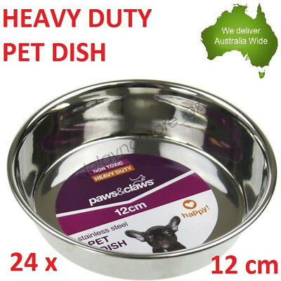 24 x Heavy Duty Pet Metal Stainless Steel Dish Food Water bowl Plate dog cat NEW