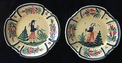"""HB Henriot Quimper Two Small Yellow Plates - Man and Woman - 6"""" Round"""
