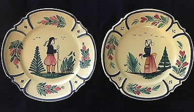"""HB Henriot Quimper Two Yellow Dinner Plates - Man and Woman 9-3/4"""" Round"""