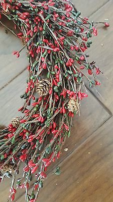 """18"""" Red Berry Small Pinecone Wall or Door Wreath"""