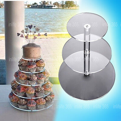 3/4/5/6 Tier Clear Acrylic Round Cupcake Cake Stand Party Birthday Wedding AU SH