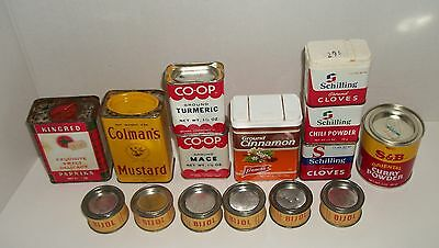 Lot of 15 Vintage Spice Tins Schilling Co-Op Kingred French's Bijol Colman's S&B