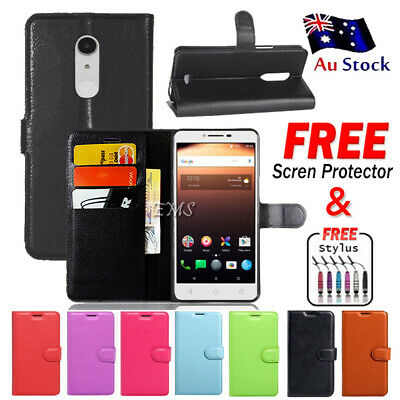 Leather Wallet CardHolder Flip PU Case Cover For Alcatel A3 XL A3XL