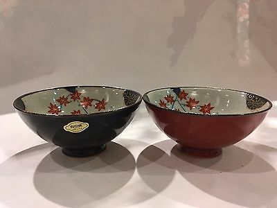 Japanese Rice Bowl Set Shumaki Shunju Red Black Aritaware Made in Japan  F/S