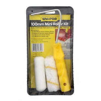 Mini Paint Roller Cover Tray Kit 100mm Unipro High Dense Material Smooth Finish