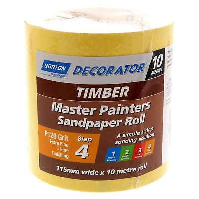 Sandpaper 120 Grit Timber Surfaces Extra Fine 115mm x 10m Roll Norton