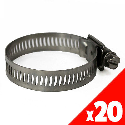 Worm Gear Hose Clamp 17-32mm OD Range STAINLESS STEEL x20