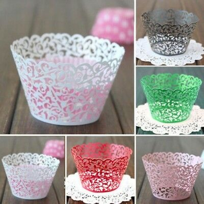 12Pcs Filigree Lace Cupcake Wrappers Baking Cupcake Wrap Wedding Party Decor New