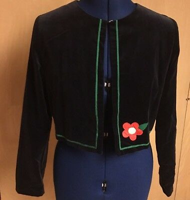 Girls Florence Eiseman Navy Dress Velvet Floral Appliqué Crop Jacket Blazer 12