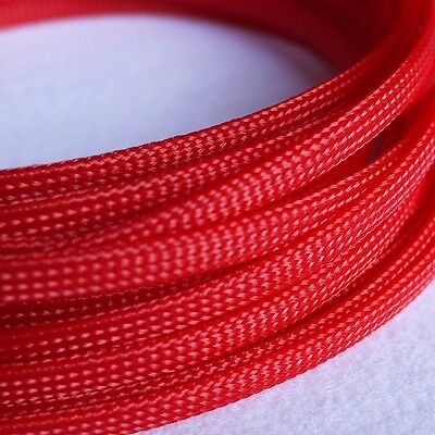 6mm Red DENSE Expandable Braided PET Sleeving Cable 3 Weave Tubing x1/3/5/10/20M