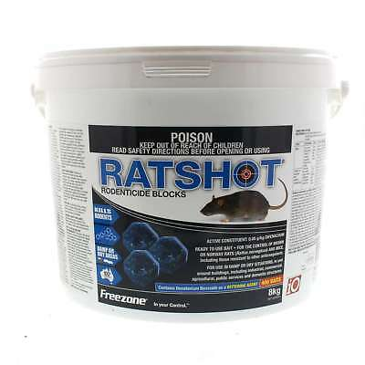 iO Rat Shot Bait Blue Ratshot Block Damp or Dry Use Difenacoum Freezone 8kg