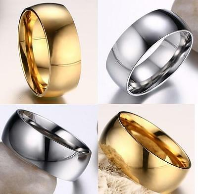 50x Gold/Silver 8mm Stainless Steel Wedding Rings for Men and Women Jewelry