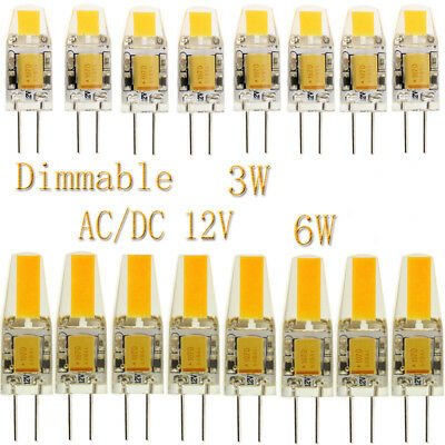 10x 50x G4 3W 6W COB Dimmable LED Bulbs Lights Lamp Silicone Crystal AC DC 12V