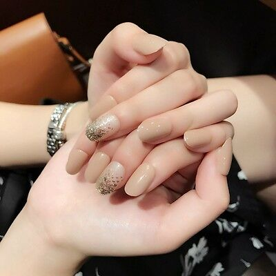 Natural Solid Nude Fake Nail Beige Clear with Glitter Full Cover False Nail Z442