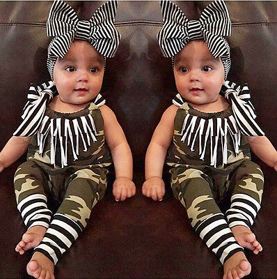 UKStock Camouflage Newborn Baby Girl Clothes Romper Bodysuit Outfit Jumpsuit Set