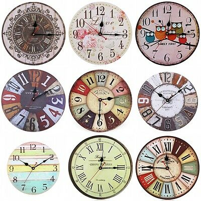 UK Retro Vintage Wooden Analog Wall Clock Shabby Chic Rustic Kitchen Home Decor